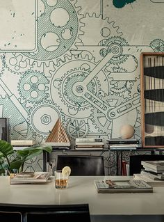 - Wall&Decò has presented new contemporary wallpaper collection. From charcoal drawing to wall painting, from fab Steampunk Bedroom, Steampunk Furniture, Steampunk Interior, Steampunk Bar, Office Mural, Office Walls, Art Mural, Wall Murals, Wallpaper Collection