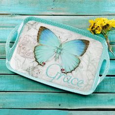 Butterfly Blessings Melamine Serving Tray | Christian Art Gifts