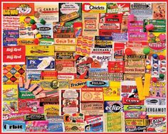 Remember these Gum Wrappers #Collage #JigsawPuzzles http://jigsawpuzzlesforadults.com/collage-jigsaw-puzzles/