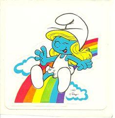 Vintage 80's Smurfette Rainbow Sticker by Stuckonstickers on Etsy, $1.50