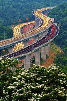 """Endless Stream"" - photo by Singer, via Flickr;  viaduct in Taiwan;  long exposure"