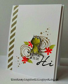 Katy Harrison: The Stamping Shed: I Love it Lots.... - 6/7/16.  (SU: Swirly Birds; Love You Lots; Acorny Thank You (sentiment); Collections DSP Stacks.  (Pin#1: Animals... Pin+: Backgrounds: Spritz/ Splatters; Hello).