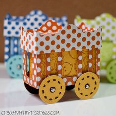 I showed this without the wheels to my 5 year old son who is a toy train addict, and he said it looked like a baby crib. Haha.PaperWorks Co. Ultimate Summer Challenge #4 - Technique is to design your own background paper. I made this for my DT project for the challenge. I thought I had to use…