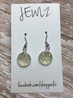 12mm Clear Dangle Earrings in Silver