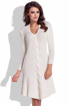 50c3c0f895 Fobya F331 sukienka ecru - Sukienki zimowe Fobya - Sukienki damskie -  sukienki z dzianiny - Sklep Intimiti.pl. Moda