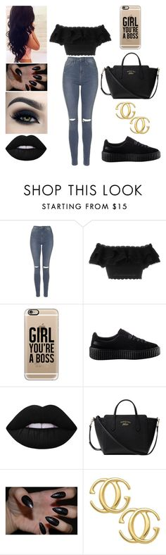 """Untitled 100"" by aminataremy ❤ liked on Polyvore featuring Topshop, Alexander McQueen, Casetify, Puma, Lime Crime and Gucci"