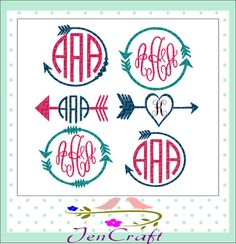 Arrow Monogram Frames Svg cutting file SVG EPS by JenCraftDesigns