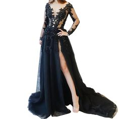 0a55594d56a Dexinyuan Womens Appliques V Neck Prom Dresses Long Sleeves High Split  Evening Party Gowns
