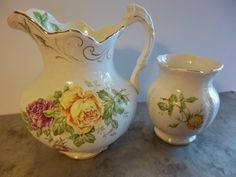 Antique Buffalo Pottery SetPitcher and Vase Yellow by rockamecook, $70.00