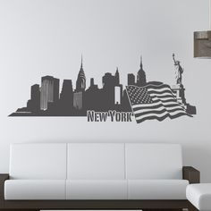 Style and Apply New York II Skyline Wall Decal Color: Green