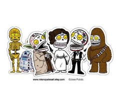 I love this take on Star Wars... calavers perfect for Dia de los Muertos (via etsy shop: MisNopalesArt)