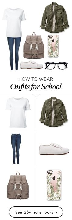 """School #4"" by dairygrunt02 on Polyvore featuring Topshop, L.L.Bean, Superga, Casetify and Lemaire"