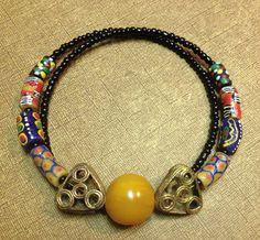 Afrocentric Jewelry - Krobo, Amber and Ashanti Brass Choker on Etsy, $35.00