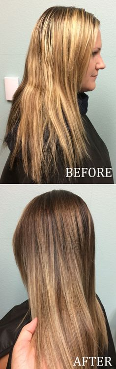 Check out this color correction how-to! Brassy blonde to beautiful sombre brunette!