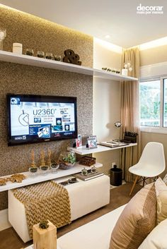Sala de tv Living Room Lounge, Living Room Decor, Small Bedroom Inspiration, Master Room, Living Room Remodel, Small Rooms, Home Interior Design, Home And Living, Decoration
