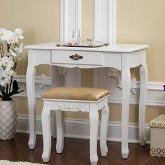 Astoria Grand Bentonville Vanity Set with Mirror Color: White