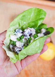 Light & Healthy Greek Yogurt Chicken Salad Lettuce Wrap | Ella Claire