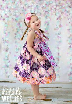 Plum Lagoon Apron Knot Dress by Little Wellies