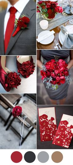 elegant dark grey and red wedding color inspiration