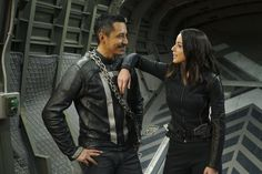 """Gabriel Luna (Robbie Reyes / Ghost Rider) and Chloe Bennet (Daisy Johnson) #Marvel Agents of S.H.I.E.L.D. #AoS #AgentsofSHIELD 4x22 """"World's End"""" #bts"""