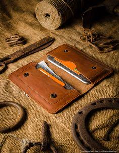 Leather two iphone case / wallet, orange, inside