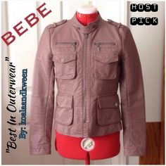"🎉HP🎉BEBE Blush Moto Military Jacket Small Trendy BEBE faux leather, Moto/military style, jacket in size small. My favorite, versatile jacket, hands down! Worn twice!! Color: Mauve/neutral. Features: antique silver tone detail for the snap buttons and zippers. Front zippered pockets, 4 snapped front pockets, removable snap cover that goes across your neck, and snap cuffs. Lined inside. Nice lightweight materials for comfort and style!  ☑️Smoke and pet free 🎉HP 9/29/16 ""Best In Outerwear""…"