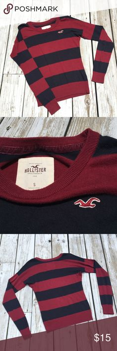 Hollister Striped Sweater Worn a few times. In great condition! Black and burgundy. Hollister Sweaters Crew & Scoop Necks