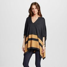 Women's Colorblock Sweater Poncho Slate/Gold - August Moon : Target