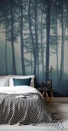 Sea of trees forest mural wallpaper forest wallpaper for Tree wallpaper bedroom