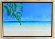 Folk Art Naive Outsider Tropical Painting Caribbean Beach One Palm Frond Beuitez #naive