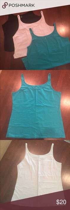 New York and company lot 3 tanks xl NWOT lot of three spaghetti strap NY & CO tank tops. Black-light grey-turquoise. Size XL ☀️perfect for summer☀️ New York & Company Tops Tank Tops