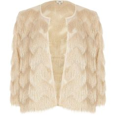River Island Cream fringe short jacket (385 PEN) ❤ liked on Polyvore featuring outerwear, jackets, coats / jackets, cream, women, pink fringe jacket, pink short jacket, pink jacket, open front jacket and tall jackets