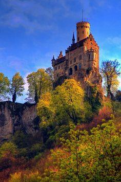I used to live near this! Schloss Lichtenstein,Deutschland (Lichtenstein Castle, Germany)  The perfect romantic castle, set high in the Swabian Alb overlooking the E...