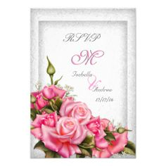 RSVP Elegant Wedding Pretty Pink Roses White 3 Invite