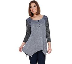 LOGO by Lori Goldstein Space Dye Color-Blocked Top with Lace