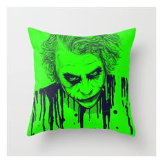 The Joker Throw Pillow ($20) ❤ liked on Polyvore featuring home, home decor, throw pillows and pop art