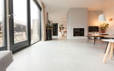 Polished Concrete Tiles, Epoxy Floor Designs, Patio Design, House Design, Building A House, Build House, New Homes, Home And Garden, Flooring