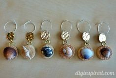 DIY Recycled Wine Cork Wine Charms-gather shells on vaca; make charms for friend's Christmas gifts! Wine Craft, Wine Cork Crafts, Wine Bottle Crafts, Wine Cork Art, Wine Cork Jewelry, Recycled Wine Corks, Recycled Bottles, Wine Cork Projects, Cork Ornaments