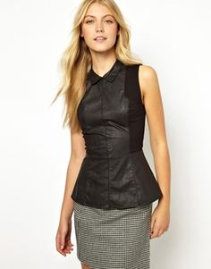{oasis leather look panel peplum top with collar}