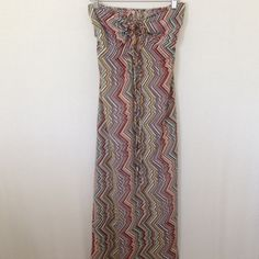 Zig Zag long dress Beautiful dress...look so beautiful on. Can be worn with a lace on front or tied around the neck. Perfect for the summer. NWT. Dresses