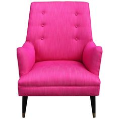 Bold Pink Lounge Chair ❤ liked on Polyvore featuring home, furniture, chairs, accent chairs, decor, seating, pink chair, brass chair, brass furniture y patina furniture