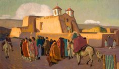 """Ranchos Church with Indians,"" Ernest L. Blumenschein, oil on panel, Gilcrease Museum. Mexico Art, Mexico Style, Great Paintings, Oil Paintings, Southwestern Art, Native American Artists, Portraits, Artist Art, Art Oil"