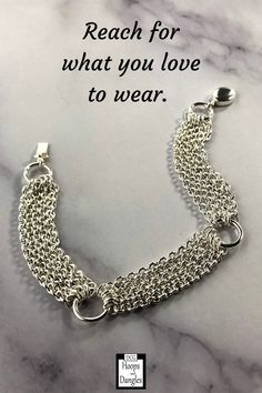 """Handmade bracelet is made with five strands of cable chain between ring links. These chain bracelets fall gracefully around the wrist and hand in sterling silver. SIZE: Lengths are 6"""", 6 1/2"""", 7"""", 7 1/2"""", 8"""", or 8 1/2"""" and Width is 1/2"""" Jewelry Accessories, Women Jewelry, Chain Bracelets, Strands, Handmade Bracelets, Sterling Silver Bracelets, Dangle Earrings, Dangles, Cable"""