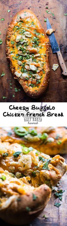 Cheesy Buffalo Chicken French Bread | halfbakedharvest.com @hbharvest