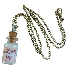 Amazon.com: Alice in Wonderland Fairy Glow in the Dark Necklace-Drink me bottle: Clothing