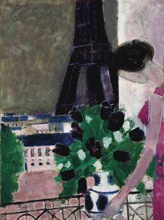 lawrenceleemagnuson:Andre Brasilier (France b. 1929) La Tour Eiffel et les Tulipes noires (1961) oil on canvas 130.1 x 97.2 cm