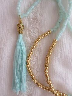 Charm- & Bettelketten - Buddhakette Kette Buddha Quaste mint türkis gold…