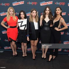 Actresses Sasha Pieterse, Lucy Hale, Ashley Benson, Troian Bellisario and Shay Mitchell pose in the press room for the 'Pretty Little Liars' panel during New York Comic-Con Day 2 at The Jacob K. Javits Convention Center on October 9, 2015 in New York City.