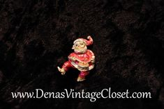 Vintage Santa Claus Christmas Pin Brooch with Drum