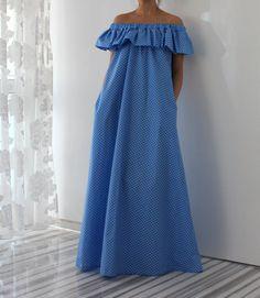 Blue Polka Dots New SPRING SUMMER 2015 Maxi by cherryblossomsdress